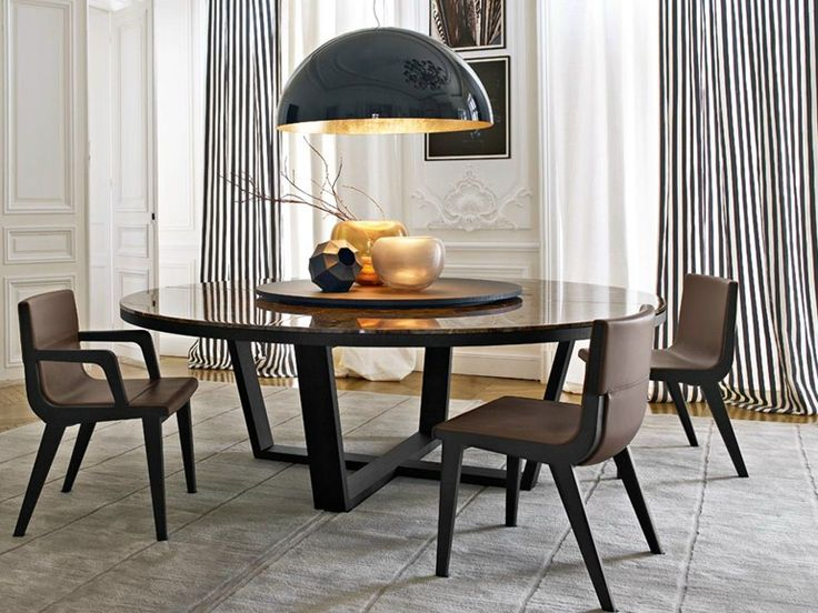 ROUND MARBLE TABLE WITH LAZY SUSAN XILOS COLLECTION BY MAXALTO, A BRAND OF B