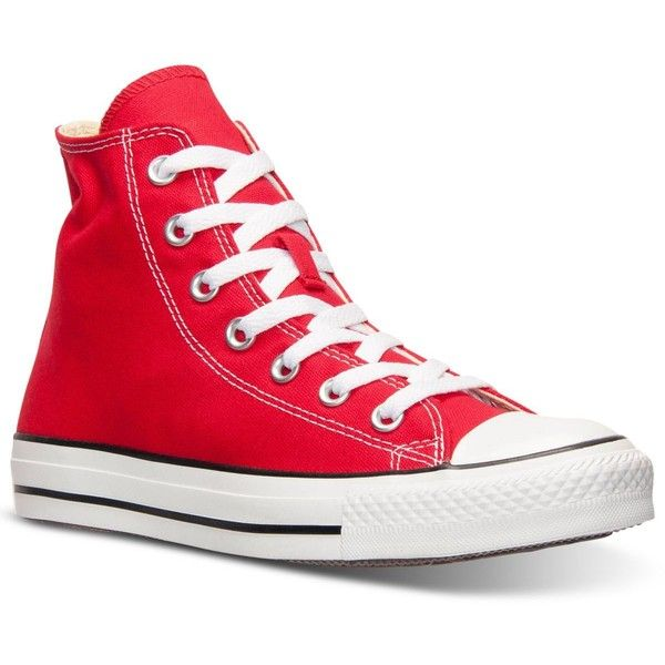 Converse Women's Chuck Taylor Hi Top Casual Sneakers from Finish Line found on Polyvore featuring shoes, sneakers, red, converse high tops, evening shoes, red evening shoes, red high top sneakers and converse trainers