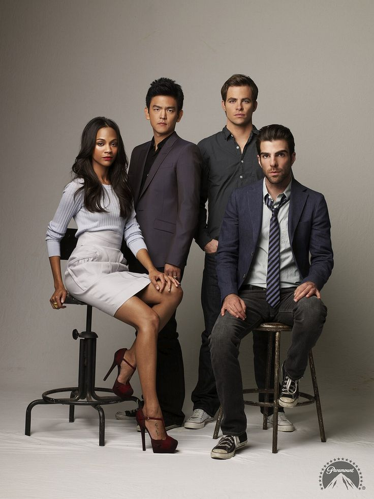 Star Trek - The newest cast. Uhura, Sulu, Kirk, and Spock (who needs to shave... Spock doesn't have facial hair!)