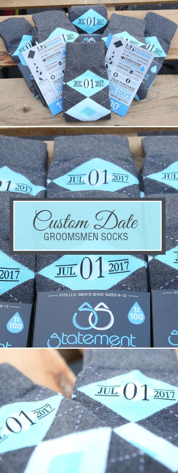 Looking for a way to customize your turquoise pool and gray wedding? We are now customizing our most popular wedding colors with wedding dates, wedding text and monograms. Give your groomsmen in your wedding a gift they will never forget that will always remind them of your big wedding day: custom turquoise groomsmen socks. Shop these pool and gray custom monogram socks and more.