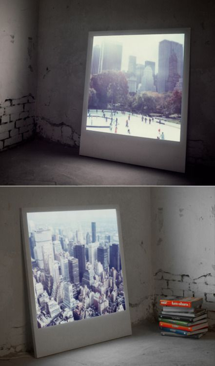 I think this is just about the coolest thing ever - a giant, backlit polaroid. AMAZING.