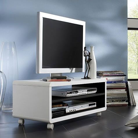 Jazone LCD TV Stand In White And Black on Castor Wheels