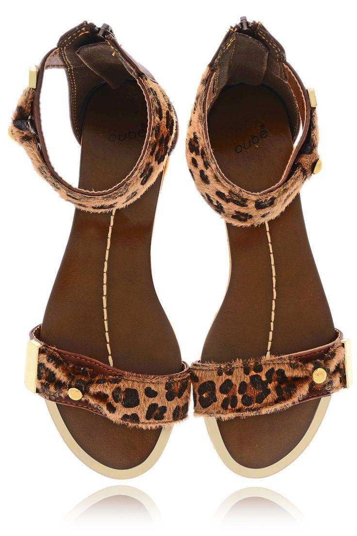 QUBE PONY LEOPARD Brown Animal Print Sandals - SHOES | FLATS | Sandals | PRET-A-BEAUTE.COM