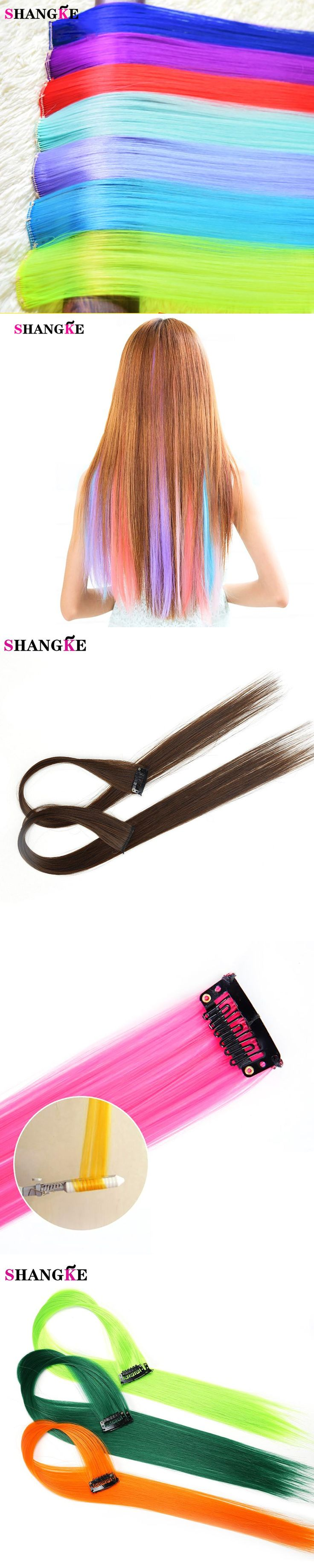 SHANGKE highlighted color Synthetic hair Extension Clip-in One Piece Long 50 CM Straight hairpiece for cheerleading squads