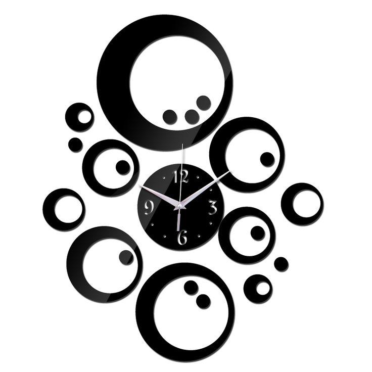 2015 promoção venda quente relógio de parede de quartzo clockmodern decoração diy 3d acrílico espelho antigo presente freeshipping alishoppbrasil