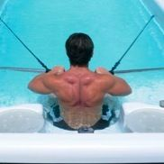 Your PowerPool™ can be equipped with an aquatic exercise package that features modern resistance band technology. www.backyardpoolandspa.ca
