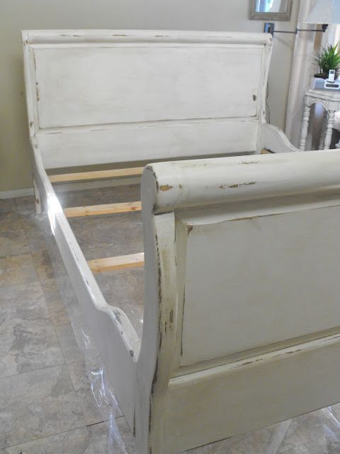 Distressed painted sleigh bed...will Chris freak?...