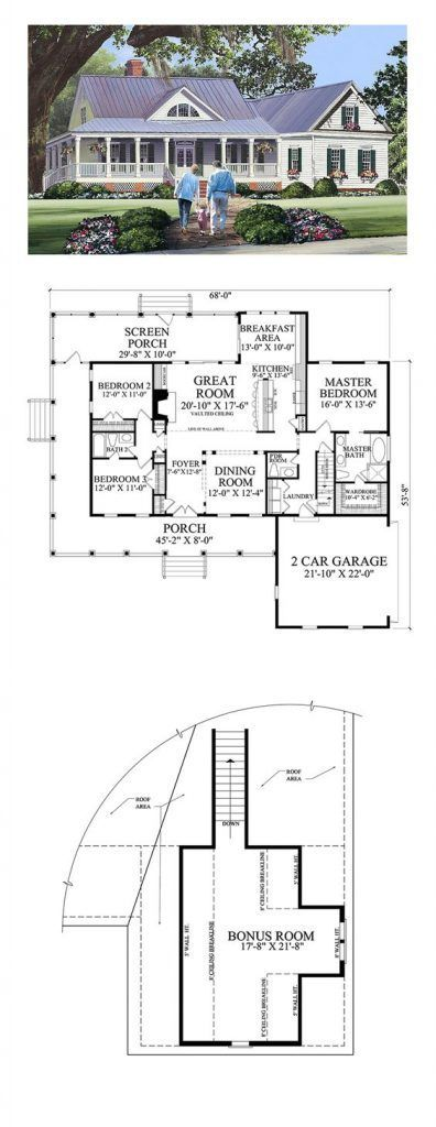 Cottage Country Farmhouse Traditional House Plan 86344