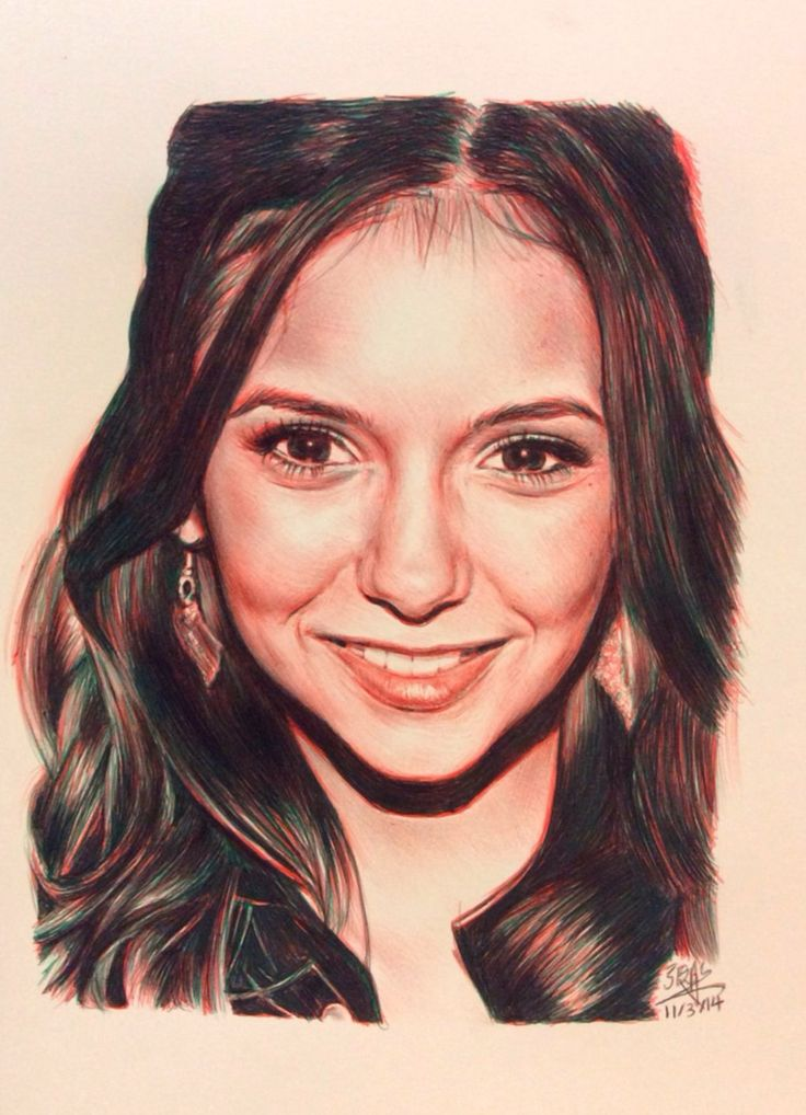 BIC ballpoint pen drawing of Nina Dobrev by chaseroflight.deviantart.com on @deviantART