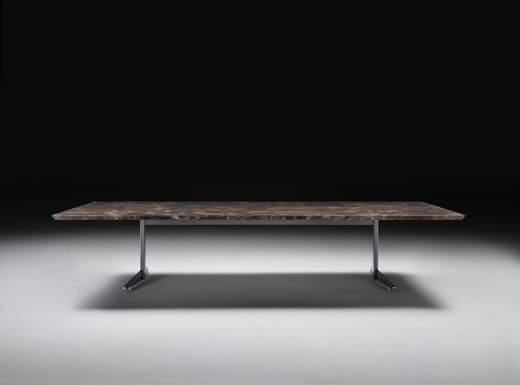 FLEXFORM FLY table with frame in metal and top in Emperador marble. Designed by ANTONIO CITTERIO.