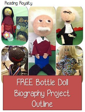 Use this bottle doll project as an alternative to traditional biography book reports! Free outline included! Michaela Almeida, Reading Royalty