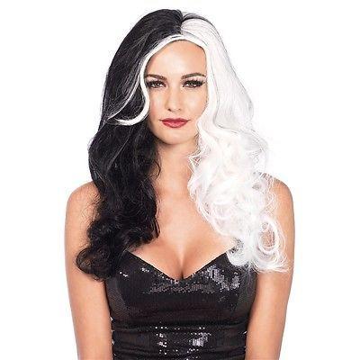 Cruella DeVille Wig Adult Female Superhero Cosplay Halloween Fancy Dress