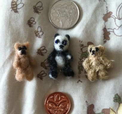 Micro Mini Bears - Needle Felted and Sewed.