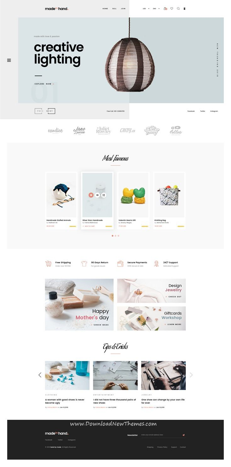 Made By Hand Is A Clean And Modern Design Psd Theme For Handmade Crafts And Gifts Shop Ecommerce Clean Web Design Ecommerce Web Design Prestashop Themes