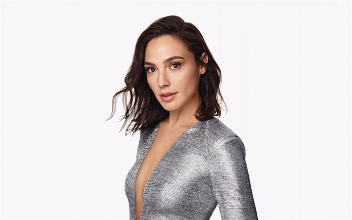 Download wallpapers Gal Gadot, Israeli actress, a gray dress, photoshoot, Hollywood star, a portrait