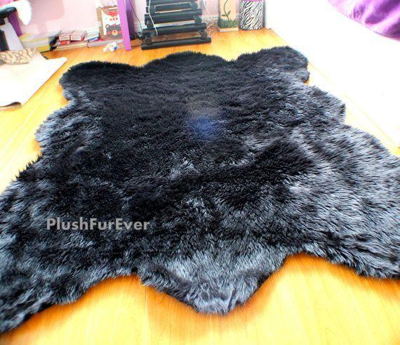 Black Bear Faux Fur Rug Fake Animal