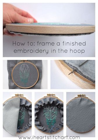 How to finish the back of an embroidery hoop - version 1 by I Heart Stitch Art