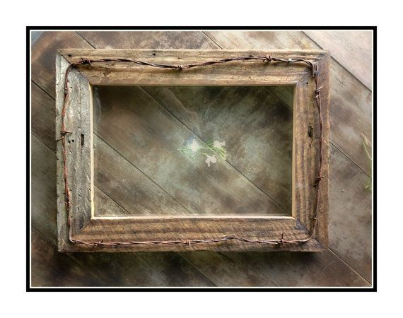 Rustic Barnwood Picture Frame & Western Barbed Wire, 8x10    Country Chic,  Rustic Decor Reclaimed Handmade Frame