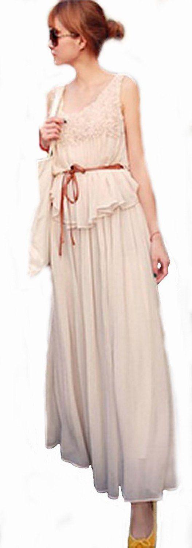 Amazon.co.jp: 地中海風ドレスワンピース セレブ スタイル シフォン ノースリーブ マキシ ワンピース フェミニン カジュアル ワンピ ファスト ファッション コーディネート レディース ワンピ(フェイクレザー帯状ベルト付)(アプリコット): 服&ファッション小物通販
