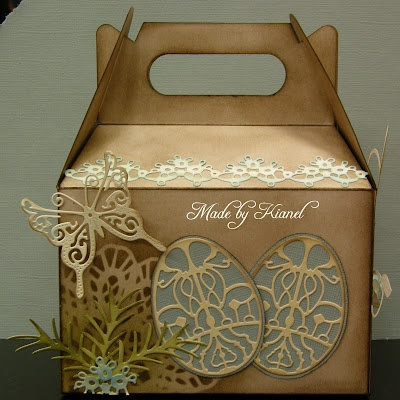 I also would like to share another project that i made during the show for a lady who was selling ready made boxes and asked us to decorate one of them. #cheeryld #kianel Dies used: Lace Egg Six - DL212; Nesting Eggs - XM-18; Spring Basket 1 - DL214; Fanciful Flourish - B117; Miniature Rose - B152; Medium Rose - B154; Dancing Doily Lace Border - DL134; Italian Flourish Doily - DL103; Pine Branches - B146; Small Exotic Butterflies # 2 w/Angel Wings - DL113AB http://www.cheerylynndesigns.com