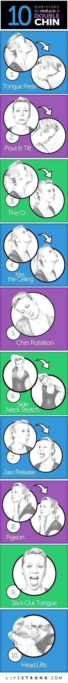 10 Ejercicios para reducir el doble mentón - 10 great exercises to tone your neck and chin.