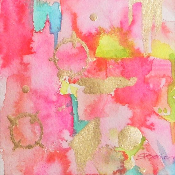 "Pink Abstract Art Print-""Pink Links"", Fine Art Print, Wall Decor, Gold,Wall Art, Abstract Painting"