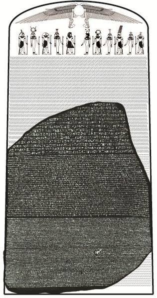 No dia 15 de julho de 1799, é encontrada a Pedra de Roseta na localidade egípcia de Roseta, por Pierre-François Bouchard, um oficial francês.  A tradução do texto foi crucial para a compreensão moderna dos hieróglifos egípcios. O médico britânico Thomas Young conseguiu bons avanços na tradução, mas o maior mérito foi do estudioso francês Jean-François Champollion, um dos pilares da egiptologia.