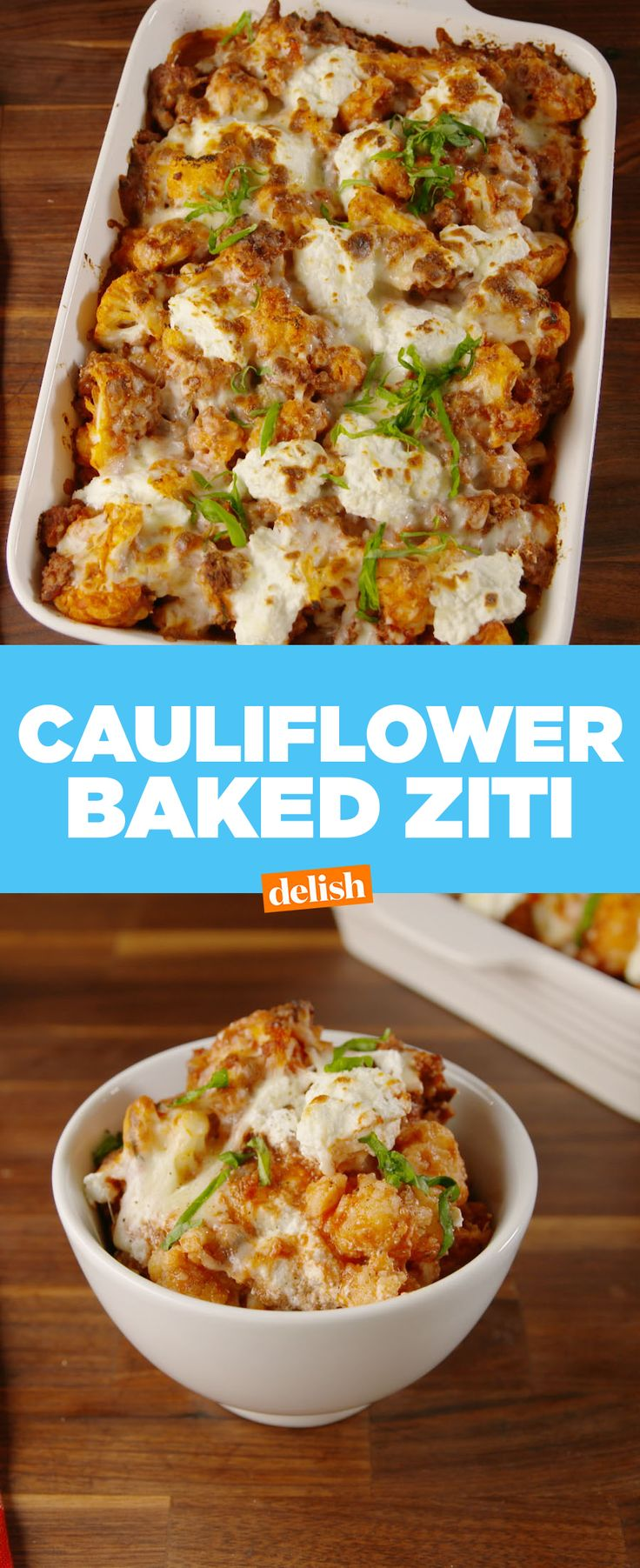 Cauliflower Baked Ziti is so good you won't even miss the pasta. Get the recipe at Delish.com.