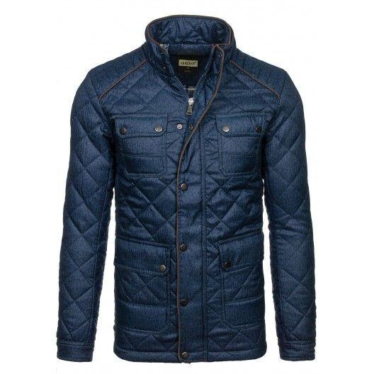 Pánska zimná prešívaná bunda modrej farby - fashionday.eu
