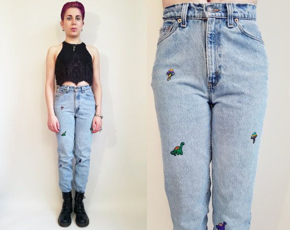 80s 90s Jeans Vintage Upcycled Patch Jeans Vintage degli anni
