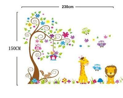 w026 Kinderzimmer Wandtattoo XXL Baum Tiere Löwe Eule Giraffe Dschungel Zoo top