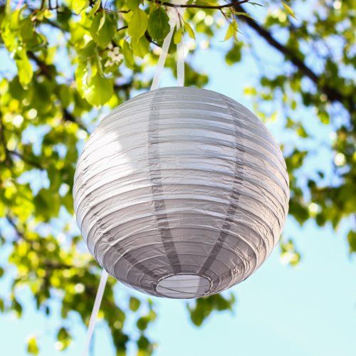 Round Metallic Paper Lanterns- hung from ceiling in nursery for 'clouds' - hang felt balloon mobile below lanterns above crib.