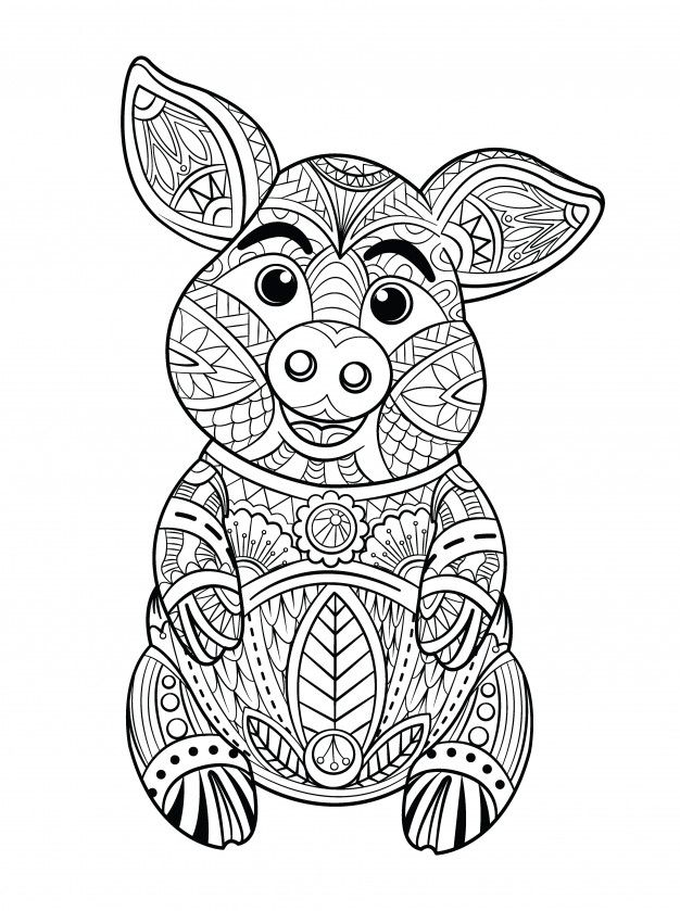Pig Coloring Page in 2020 | Coloring pages, Adult coloring ...