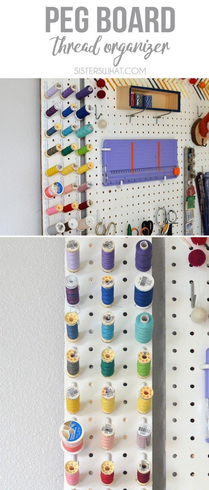 organize thread on a pegboard