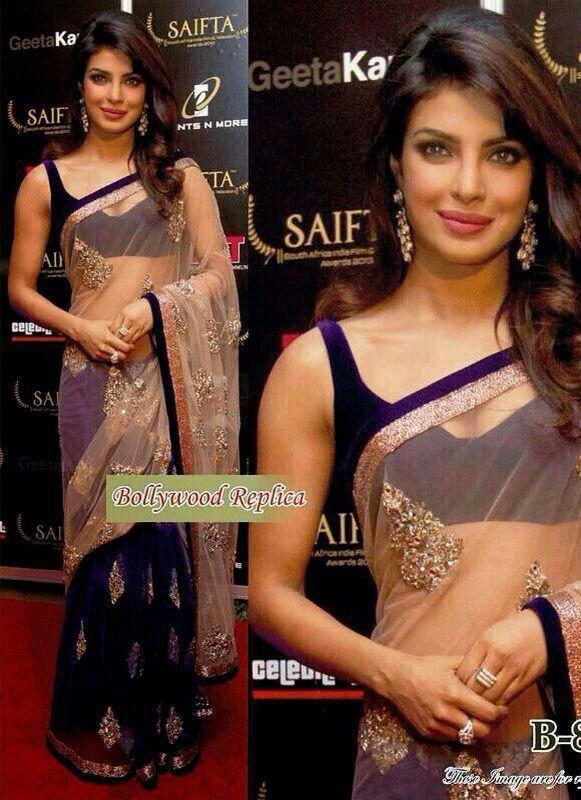 New Bollywood Replica Net Sari Indian Party Wear Wedding Designer Saree