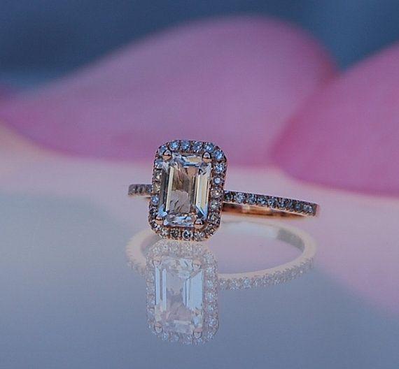 1.14ct Emerald cut white to ice peach champagne by EidelPrecious