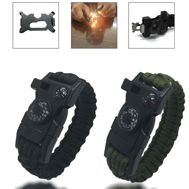 Outdoor Camping Men Rescue Paracord Parachute Cord Wristbands Emergency Rope Survival Kits Flint Scraper Whistle Buckle