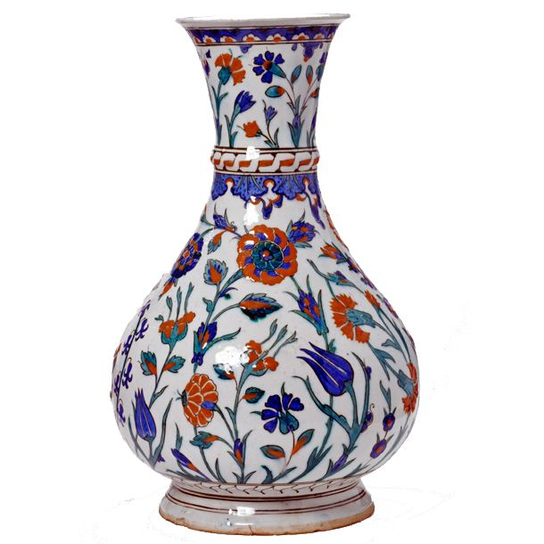 Vase, Iznik, Turkey, about 1575. Museum no. 232-1876. The white fritware body and brilliant underglaze colours are typical of ceramics made in Iznik. This small town in north-west Anatolia was a major centre of production and produced some of the most accomplished examples of Islamic pottery.