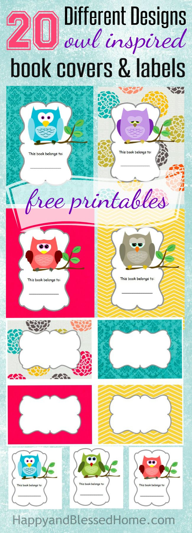 20 Different Designs Owl Inspired Book Covers and Labels Free printables HappyandBlessedHome.com