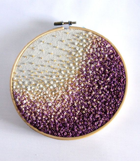 Golden Purple Wave- Gradient Embroidery Hoop Art -French Knots, Beads