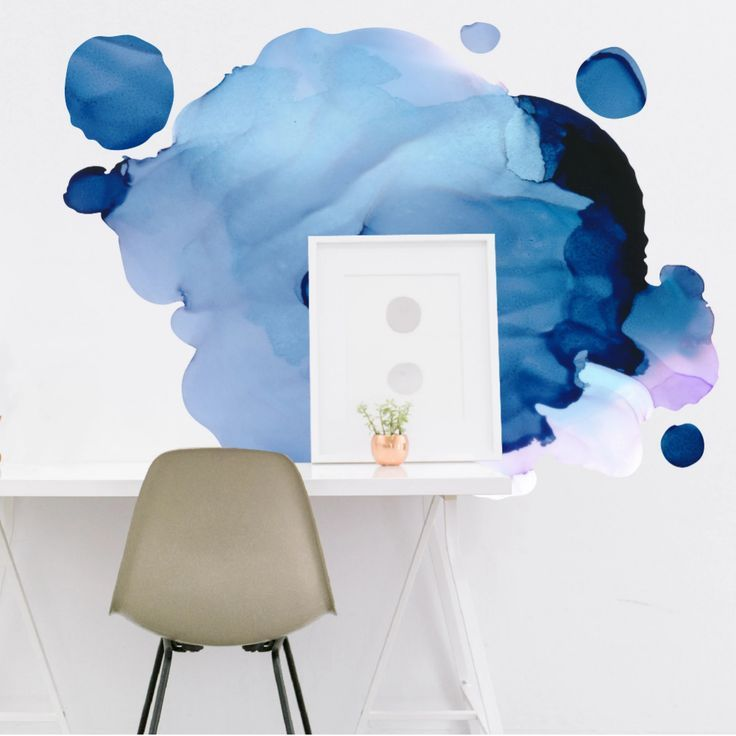 Abstract Watercolor Ink Removable Wall Decal Removable Wall