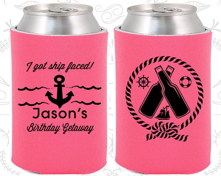 I got Ship faced, Birthday Getaway, Anchor Birthday Party, Nautical Birthday Party, Birthday Can Coolers, Birthday Coolies (20024)