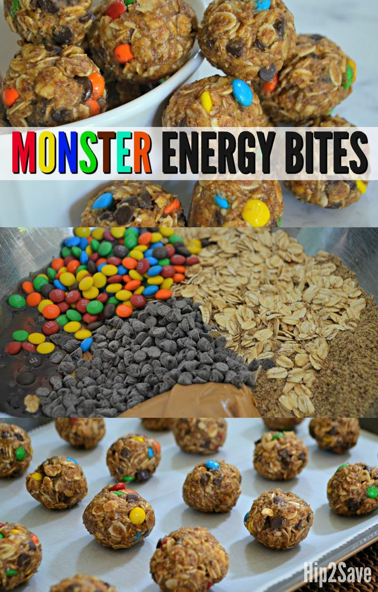 Make these delicious Monster Energy Bites, inspired by oatmeal chocolate chip Monster Cookies, for an easy homemade snack or treat!