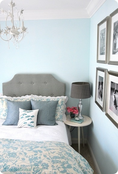 Turquoise and gray bedroom