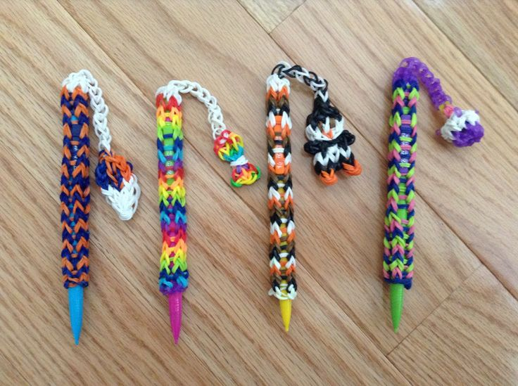 These are the rainbow loom pencil dangles that I made. They are super easy and fun to make. The product I showed you is the from the YouTube channel tutorials by a so go and check her out if you want to make your own pencil dangle