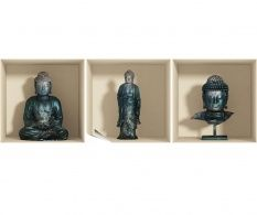 Set 3 stickere 3D Buddha Statues