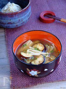 茄子とエノキのお味噌汁