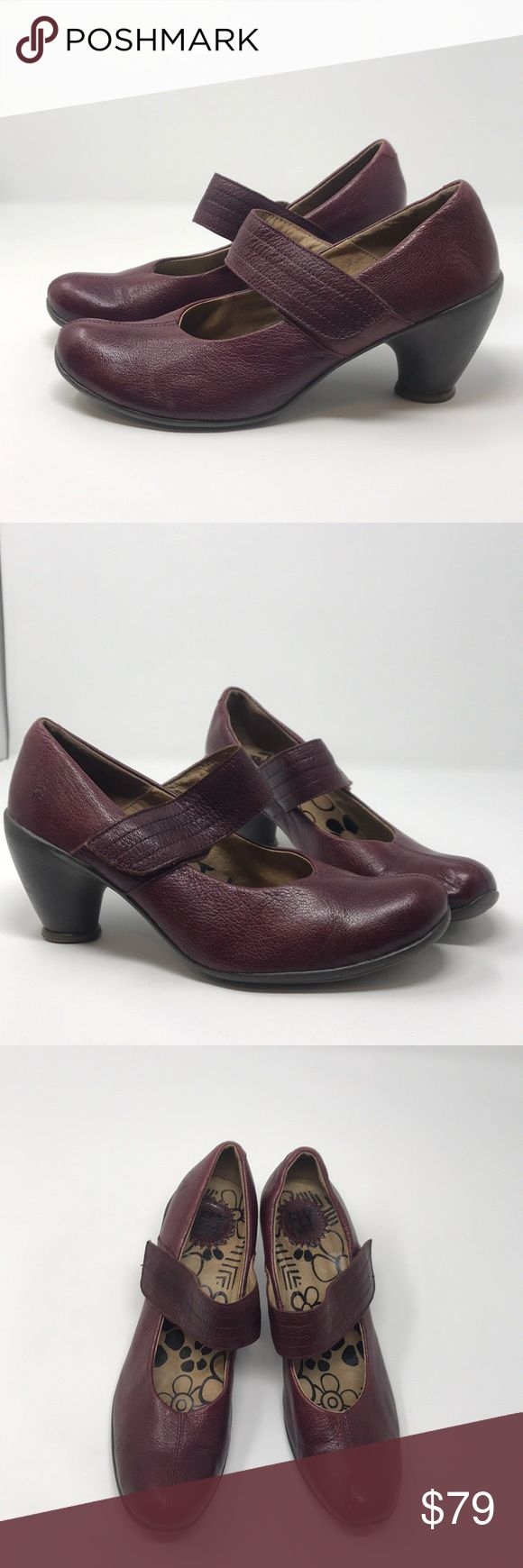 "Fly London Shoes Mary Jane style Fly London burgundy soft leather shoes, Mary Jane style. Rubber heels 3"". Little signs of worn only on heels but still have so much life. Size 39 Fly London Shoes Heels"