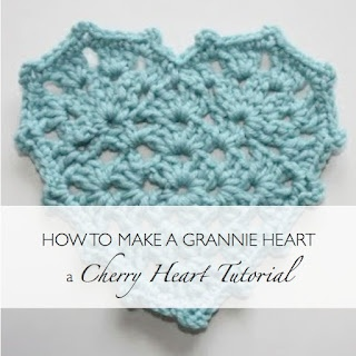 Clear step by step photographs that show how to make a #crochet Granny Heart. From the Cherry Heart blog.