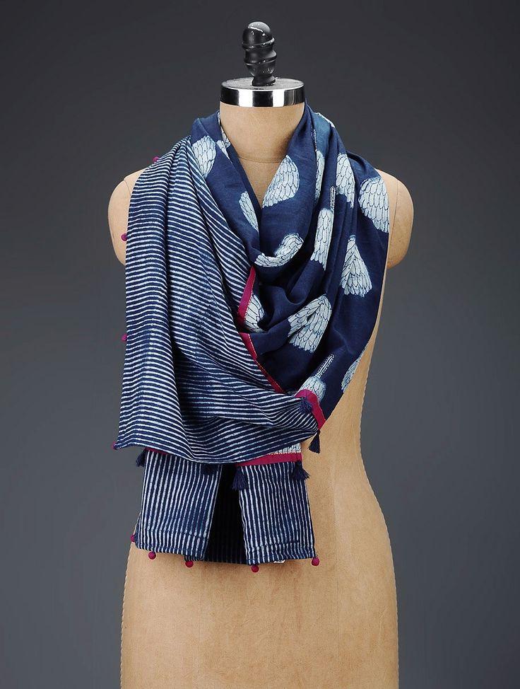 Buy Indigo Cotton Block Printed Stole Online at Jaypore.com